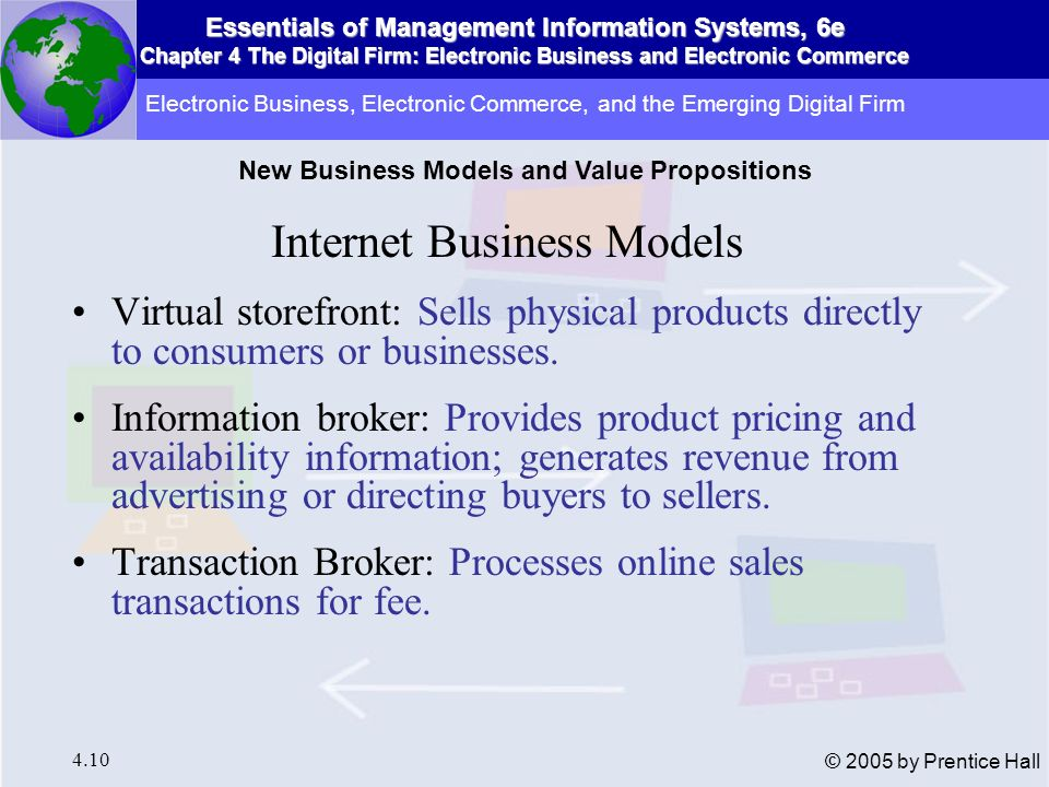Essentials of Management Information Systems, 6e Chapter 4 The Digital Firm: Electronic Business and Electronic Commerce 4.11 © 2005 by Prentice Hall Internet Business Models Online Marketplace: Provides digital environment where buyers and sellers meet Content Provider: Provides digital content, such as news; revenue from fees or advertising sales Online Service Provider: Provides connectivity; revenue from fees, advertising, or marketing information Electronic Business, Electronic Commerce, and the Emerging Digital Firm New Business Models and Value Propositions