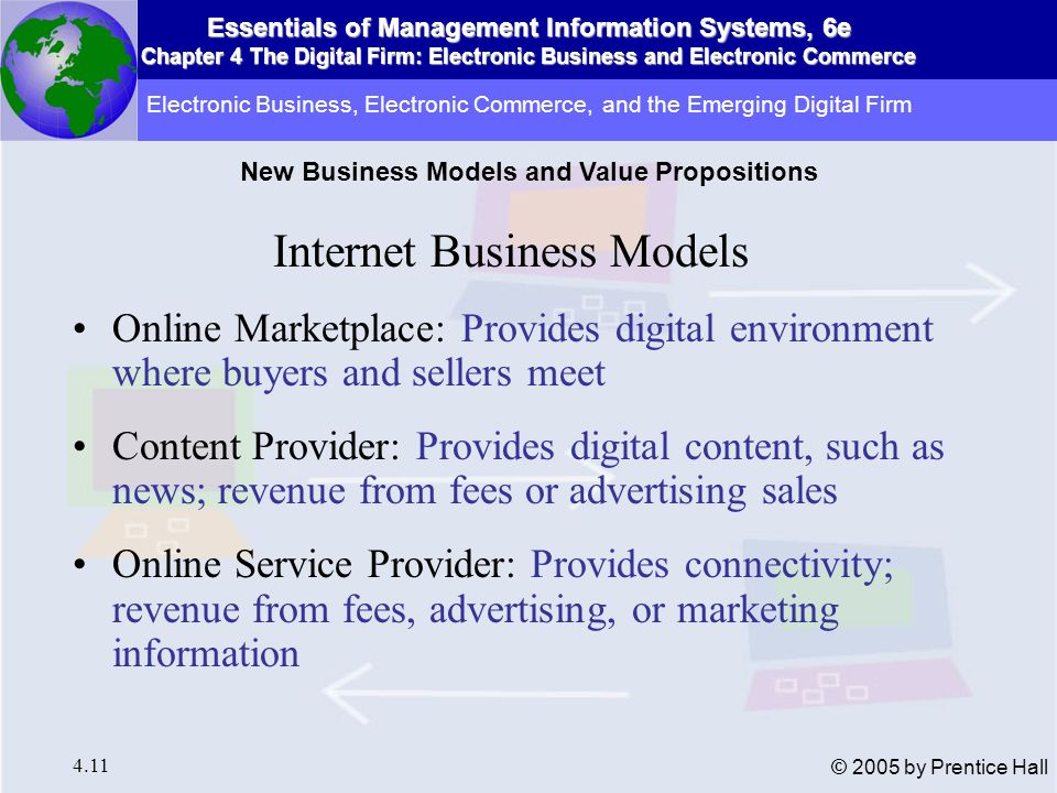 Essentials of Management Information Systems, 6e Chapter 4 The Digital Firm: Electronic Business and Electronic Commerce 4.12 © 2005 by Prentice Hall Internet Business Models (cont.) Virtual Community: Provides online meeting place for people of similar interests Portal: Provides initial point of entry to the Web, along with specialized content and services Syndicator: aggregates content or applications to resell as package to third-party Web sites Electronic Business, Electronic Commerce, and the Emerging Digital Firm New Business Models and Value Propositions