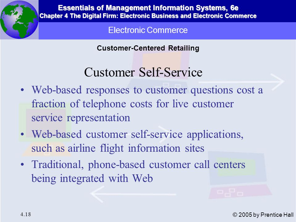 Essentials of Management Information Systems, 6e Chapter 4 The Digital Firm: Electronic Business and Electronic Commerce 4.19 © 2005 by Prentice Hall Web, Internet streamlining procurement process E-procurement eliminates inefficient, paper- based processes Selling through Web sites, private industrial networks, or Net marketplaces Electronic Commerce Business-to-Business Electronic Commerce