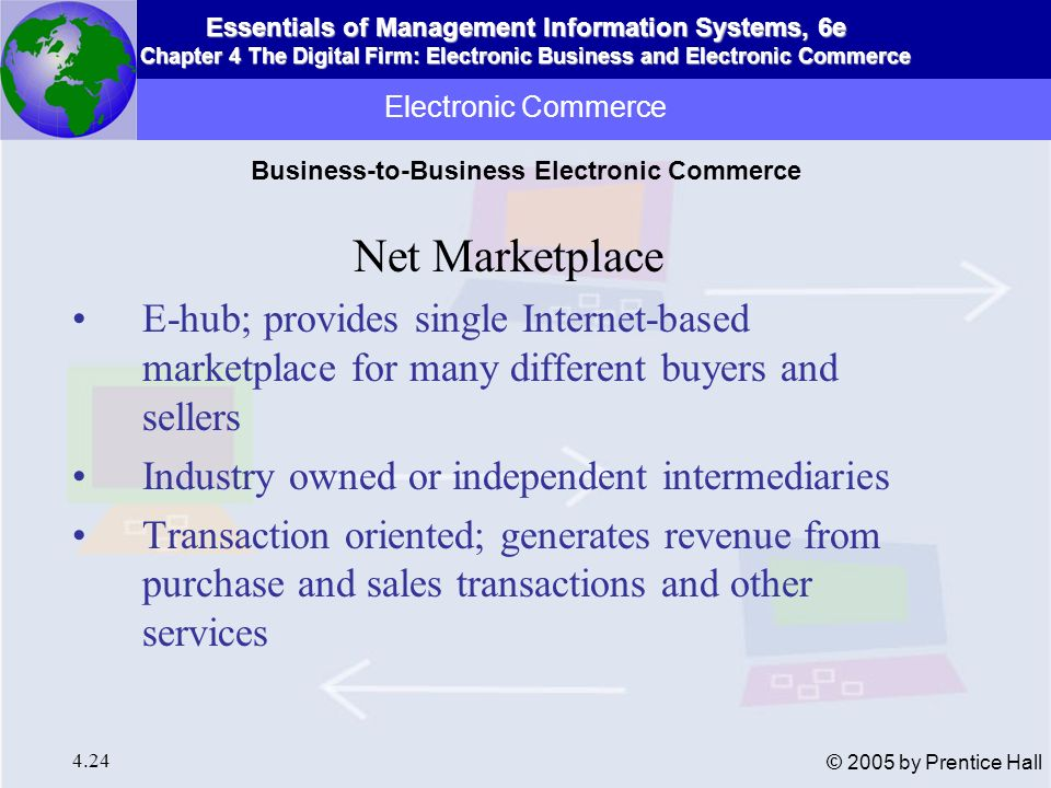 Essentials of Management Information Systems, 6e Chapter 4 The Digital Firm: Electronic Business and Electronic Commerce 4.25 © 2005 by Prentice Hall Electronic Commerce A Net marketplace Figure 4-6