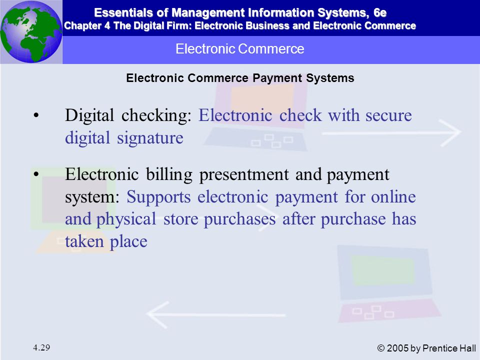 Essentials of Management Information Systems, 6e Chapter 4 The Digital Firm: Electronic Business and Electronic Commerce 4.30 © 2005 by Prentice Hall Electronic Commerce Electronic commerce information flows Figure 4-7