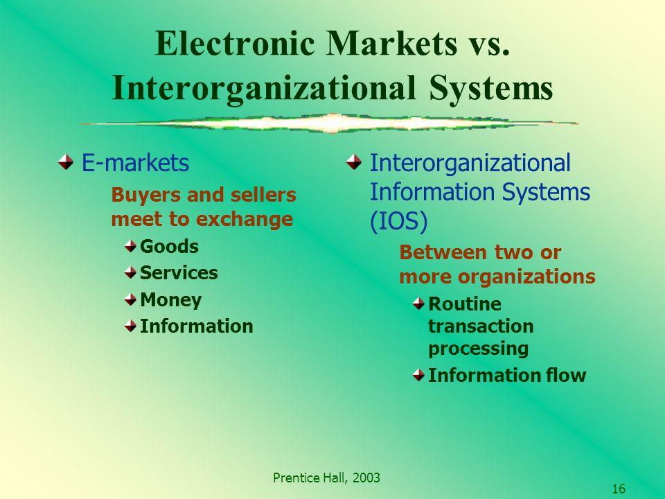 Prentice Hall, 2003 16 Electronic Markets vs.