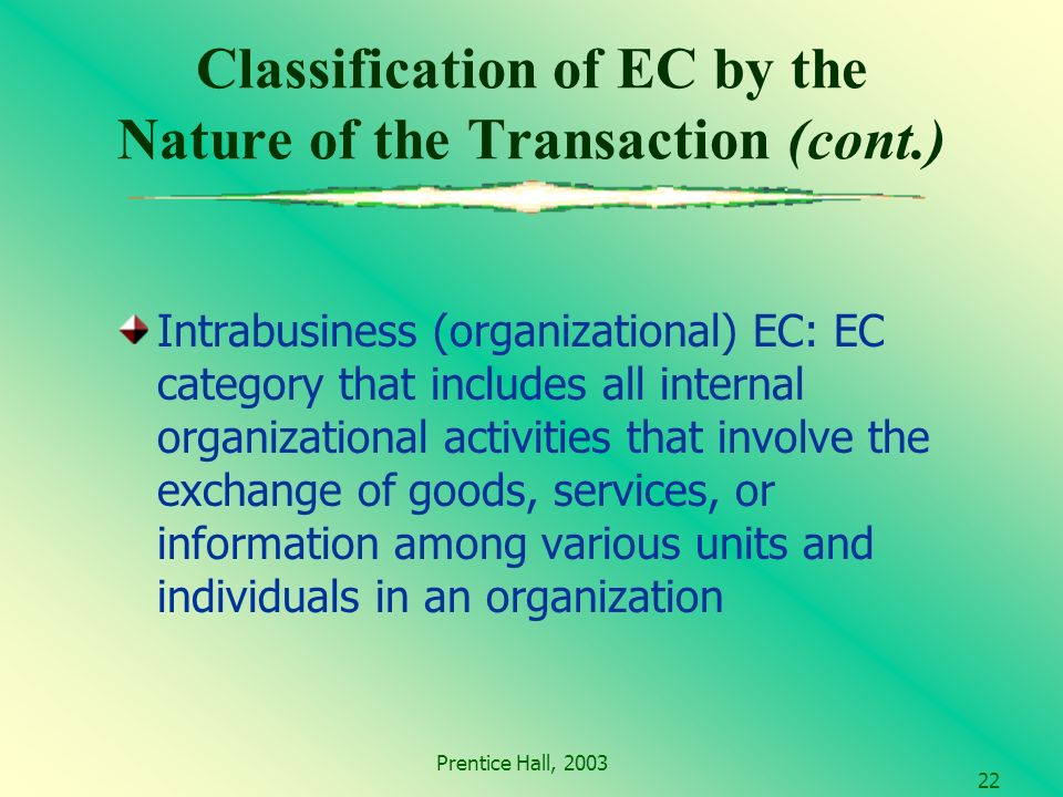 Prentice Hall, Classification of EC by the Nature of the Transaction (cont.) Intrabusiness (organizational) EC: EC category that includes all internal organizational activities that involve the exchange of goods, services, or information among various units and individuals in an organization