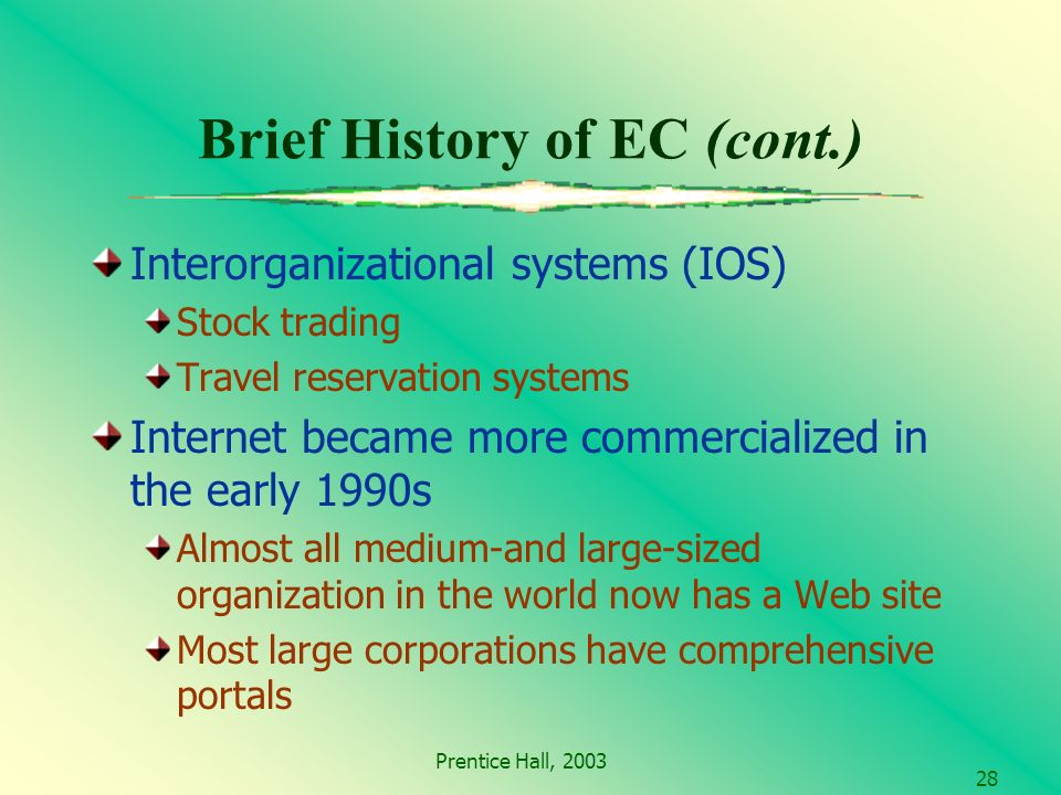 Prentice Hall, Brief History of EC (cont.) Interorganizational systems (IOS) Stock trading Travel reservation systems Internet became more commercialized in the early 1990s Almost all medium-and large-sized organization in the world now has a Web site Most large corporations have comprehensive portals