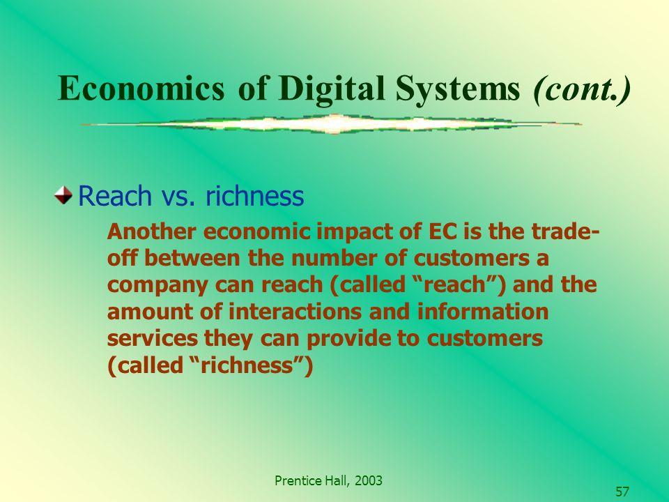 Prentice Hall, 2003 57 Economics of Digital Systems (cont.) Reach vs.