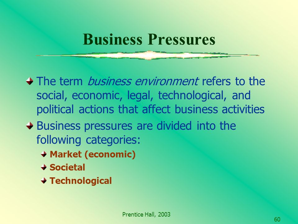 Prentice Hall, Business Pressures The term business environment refers to the social, economic, legal, technological, and political actions that affect business activities Business pressures are divided into the following categories: Market (economic) Societal Technological