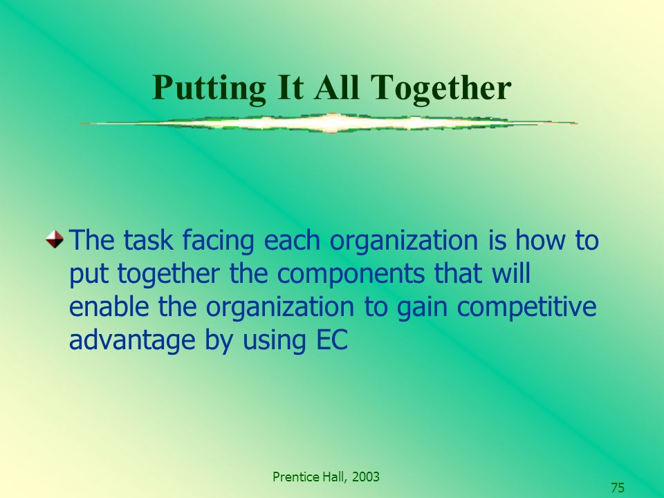 Prentice Hall, Putting It All Together The task facing each organization is how to put together the components that will enable the organization to gain competitive advantage by using EC