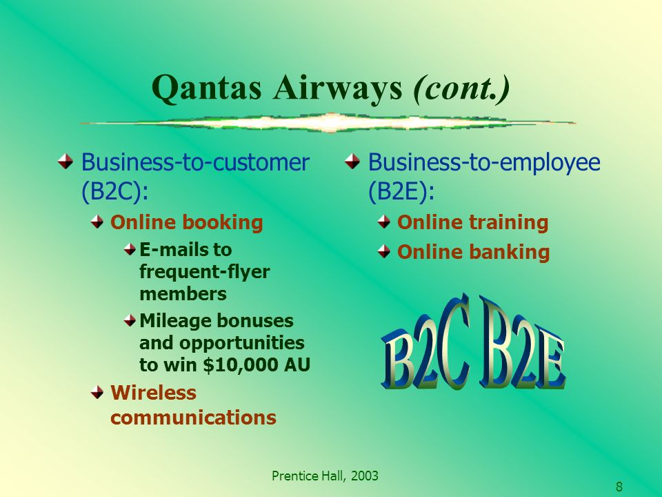Prentice Hall, Qantas Airways (cont.) Business-to-customer (B2C): Online booking  s to frequent-flyer members Mileage bonuses and opportunities to win $10,000 AU Wireless communications Business-to-employee (B2E): Online training Online banking