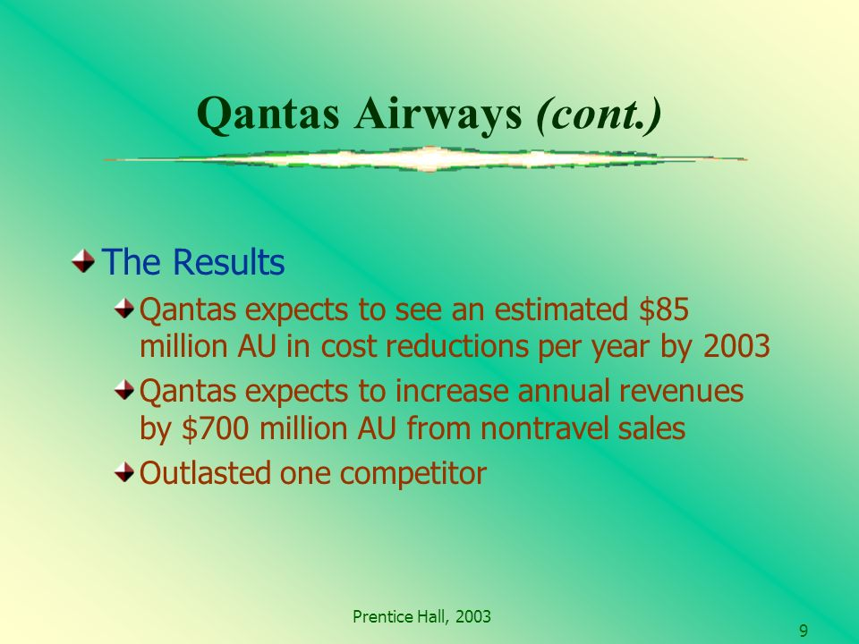 Prentice Hall, Qantas Airways (cont.) The Results Qantas expects to see an estimated $85 million AU in cost reductions per year by 2003 Qantas expects to increase annual revenues by $700 million AU from nontravel sales Outlasted one competitor