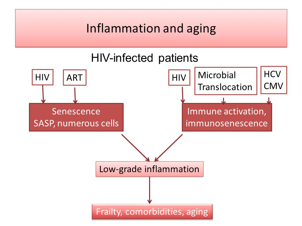 Inflammation and aging HIV-infected patients Senescence SASP, numerous cells Immune activation, immunosenescence Low-grade inflammation Frailty, comor