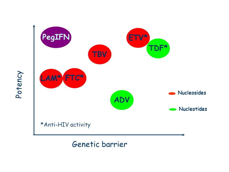 Anti-HBV drugs Nucleosides Nucleotides TDF* ADV ETV* LAM* FTC* Genetic barrier Potency TBV *Anti-HIV activity PegIFN