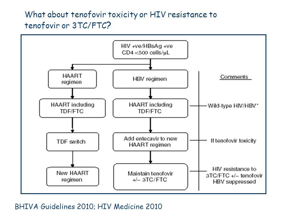 What about tenofovir toxicity or HIV resistance to tenofovir or 3TC/FTC ? BHIVA Guidelines 2010; HIV Medicine 2010