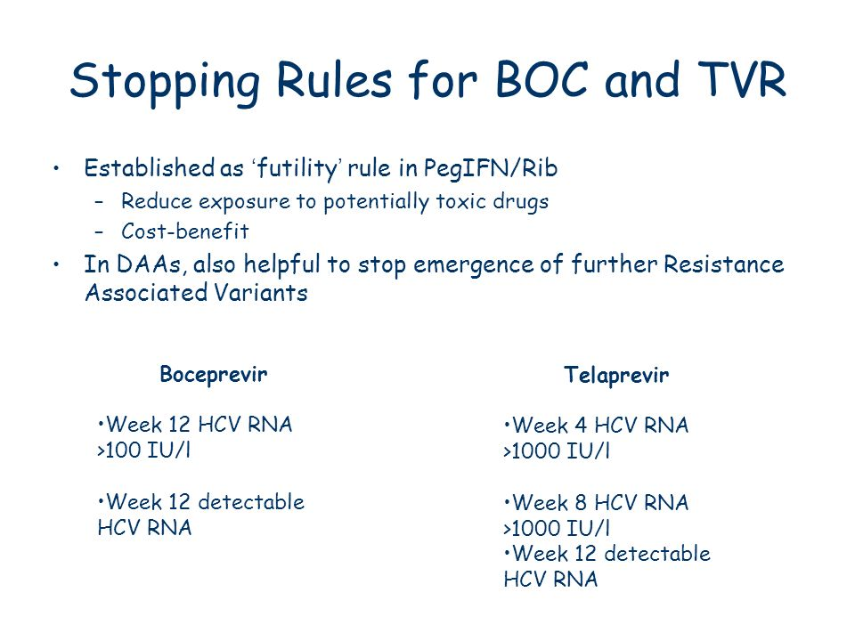 Stopping Rules for BOC and TVR Established as futility rule in PegIFN/Rib –Reduce exposure to potentially toxic drugs –Cost-benefit In DAAs, also help