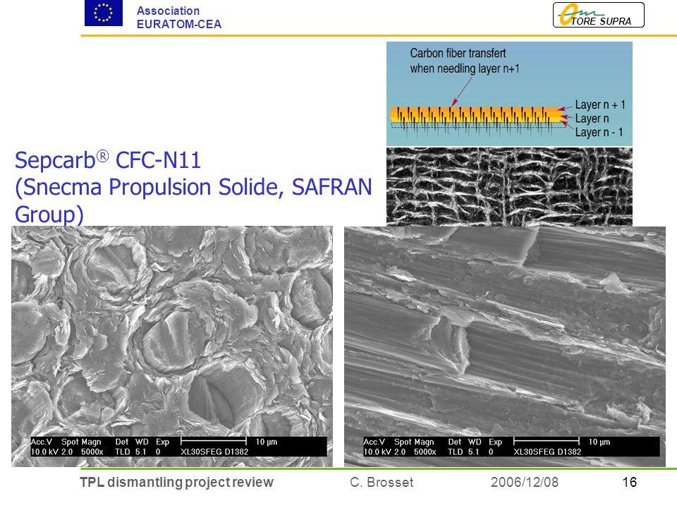 16TPL dismantling project review C. Brosset TORE SUPRA Association EURATOM-CEA 2006/12/08 Sepcarb ® CFC-N11 (Snecma Propulsion Solide, SAFRAN Group)