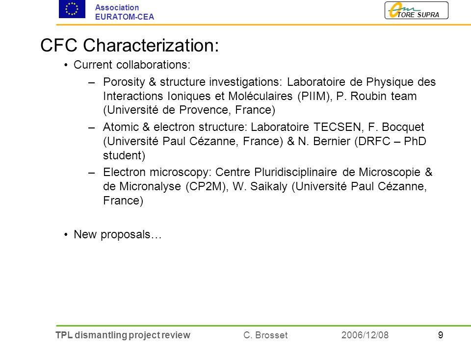 9TPL dismantling project review C. Brosset TORE SUPRA Association EURATOM-CEA 2006/12/08 CFC Characterization: Current collaborations: –Porosity & str
