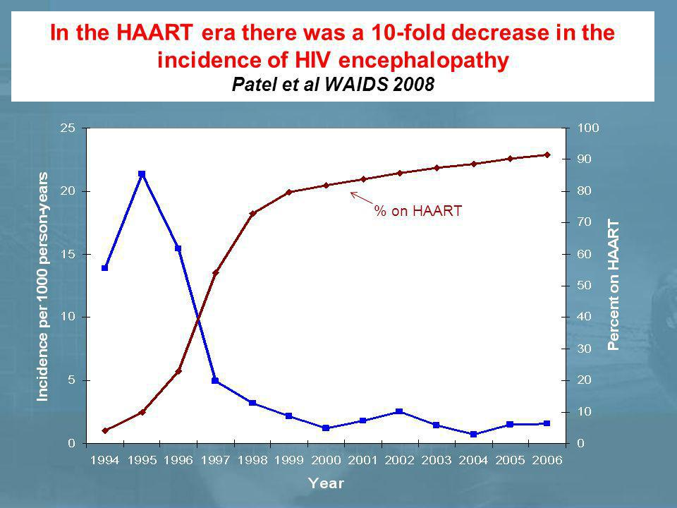 In the HAART era there was a 10-fold decrease in the incidence of HIV encephalopathy Patel et al WAIDS 2008 Incidence rate % on HAART