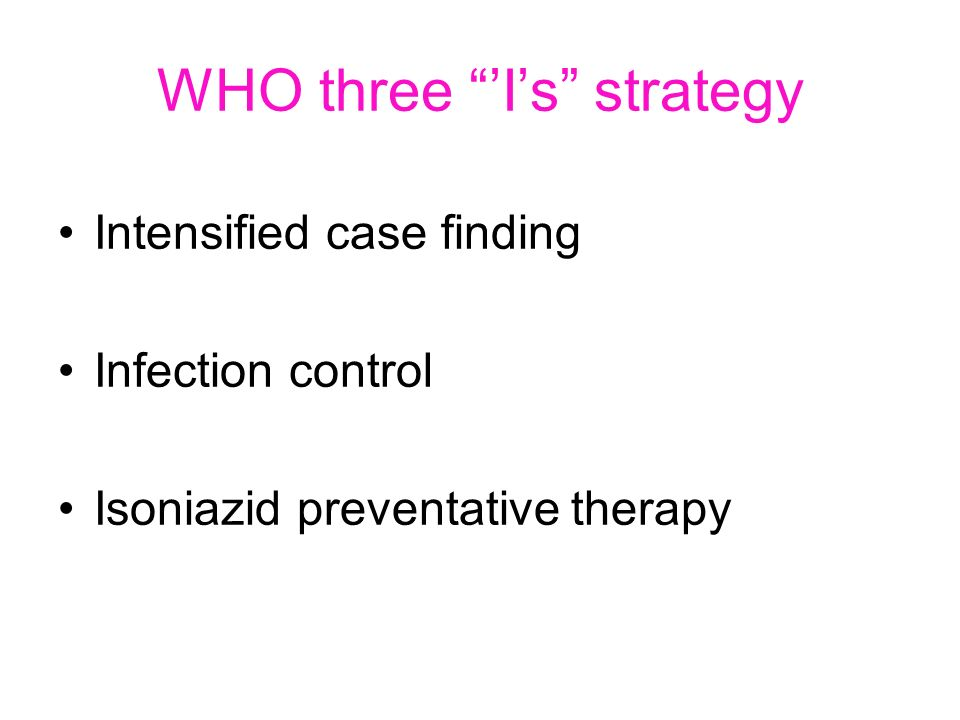 WHO three Is strategy Intensified case finding Infection control Isoniazid preventative therapy