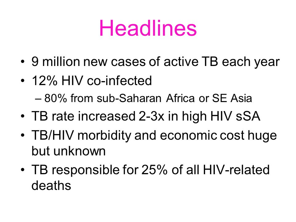 Headlines 9 million new cases of active TB each year 12% HIV co-infected –80% from sub-Saharan Africa or SE Asia TB rate increased 2-3x in high HIV sS