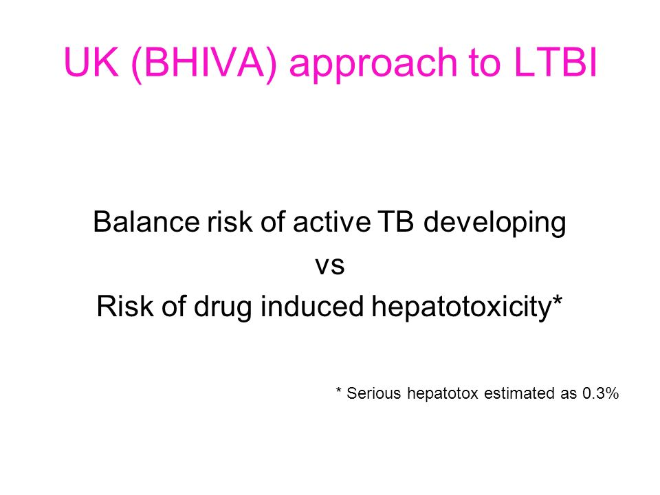 UK (BHIVA) approach to LTBI Balance risk of active TB developing vs Risk of drug induced hepatotoxicity* * Serious hepatotox estimated as 0.3%