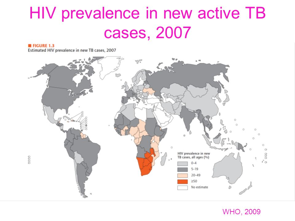HIV prevalence in new active TB cases, 2007 WHO, 2009