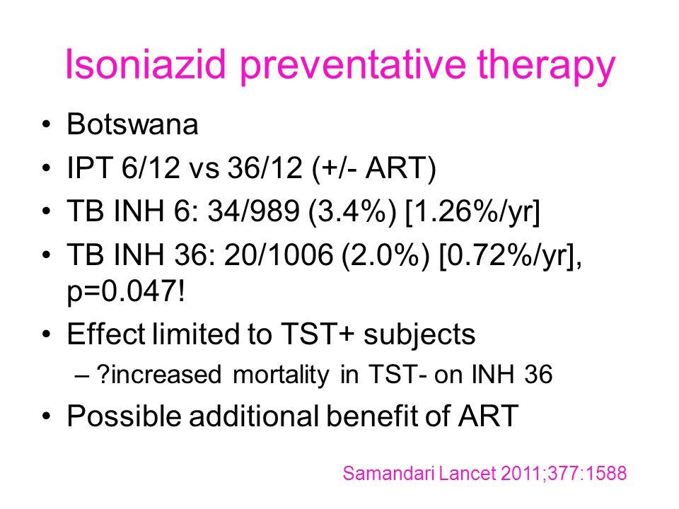 Isoniazid preventative therapy Botswana IPT 6/12 vs 36/12 (+/- ART) TB INH 6: 34/989 (3.4%) [1.26%/yr] TB INH 36: 20/1006 (2.0%) [0.72%/yr], p=0.047.
