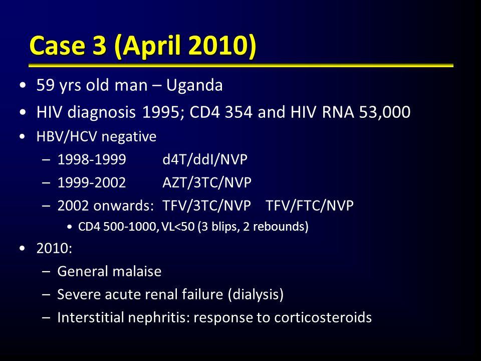 Case 3 (April 2010) 59 yrs old man – Uganda HIV diagnosis 1995; CD4 354 and HIV RNA 53,000 HBV/HCV negative –1998-1999 d4T/ddI/NVP –1999-2002 AZT/3TC/