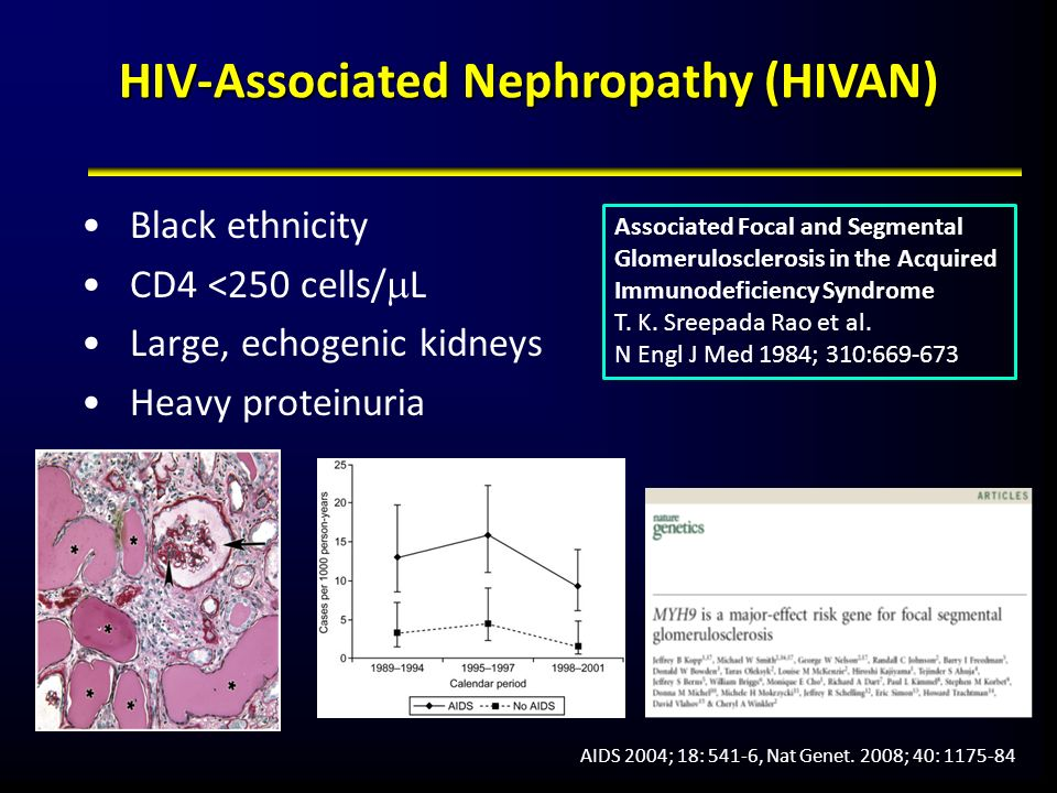 HIVAN in the UK (1998-2004) 16,834 patients HIVAN prevalence in Black patients: 0.93% HIVAN incidence (in patients without renal disease at BL): 0.61/1000 py Overall survivalRenal survival Clin Infect Dis 2008; 46: 1282-9