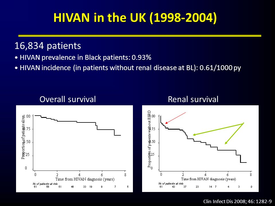 Natural History of HIVAN Cohort of 42 patients with HIVAN and 47 patients with renal diseases other than HIVAN Use of HAART associated with slower progression to RRT Kidney Int 66: 1145 (2004) Cohort of 36 patients with HIVAN Complete suppression of HIV replication may slow progression to RRT Nephrol Dial Transplant 2006; 21: 2809