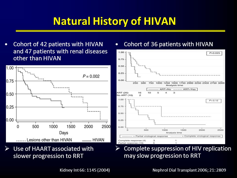 Natural History of HIVAN Cohort of 42 patients with HIVAN and 47 patients with renal diseases other than HIVAN Use of HAART associated with slower pro