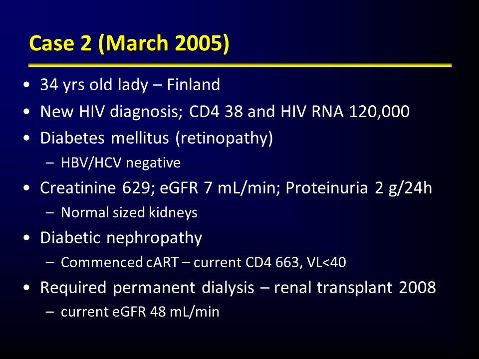 Case 2 (March 2005) 34 yrs old lady – Finland New HIV diagnosis; CD4 38 and HIV RNA 120,000 Diabetes mellitus (retinopathy) –HBV/HCV negative Creatini