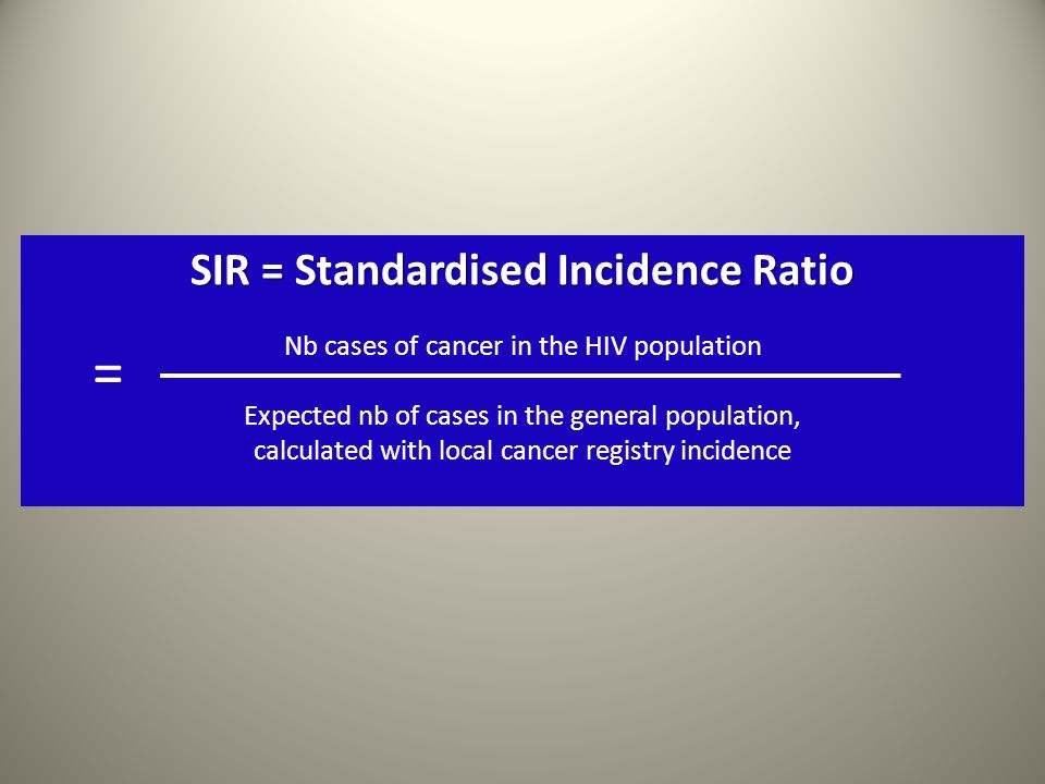 SIR = Standardised Incidence Ratio Nb cases of cancer in the HIV population Expected nb of cases in the general population, calculated with local canc
