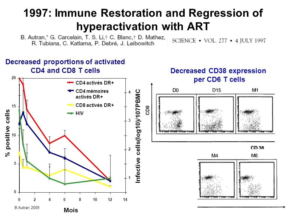 1997: Immune Restoration and Regression of hyperactivation with ART Decreased proportions of activated CD4 and CD8 T cells CD8 Decreased CD38 expressi