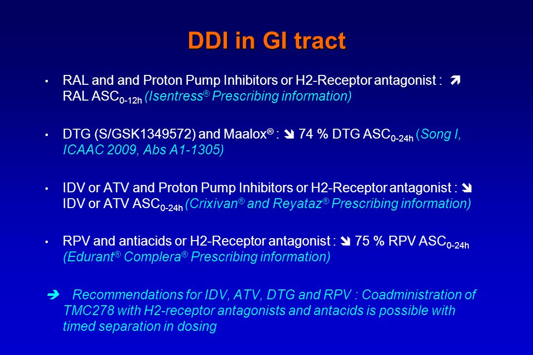 DDI in GI tract RAL and and Proton Pump Inhibitors or H2-Receptor antagonist : RAL ASC 0-12h (Isentress ® Prescribing information) DTG (S/GSK1349572)