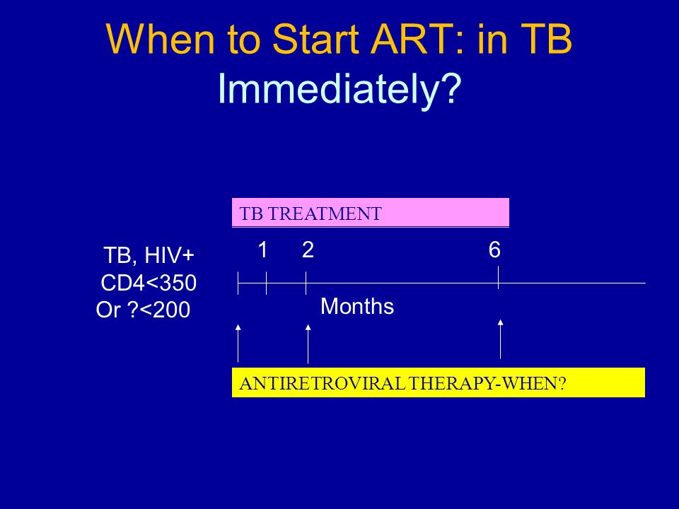When to Start ART: in TB Immediately.