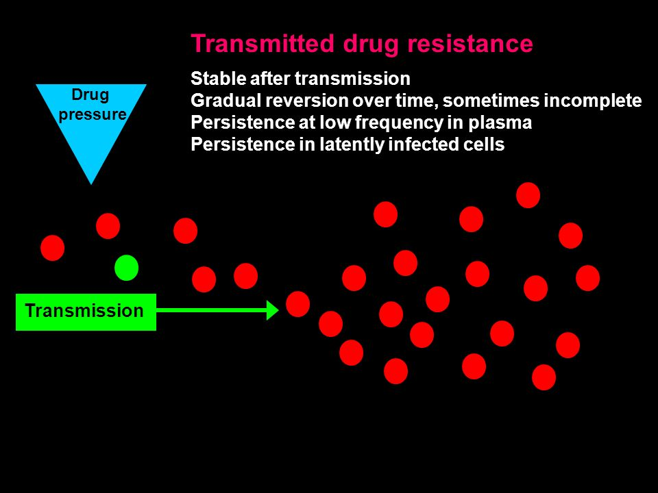 Drug pressure Transmission Transmitted drug resistance Stable after transmission Gradual reversion over time, sometimes incomplete Persistence at low frequency in plasma Persistence in latently infected cells