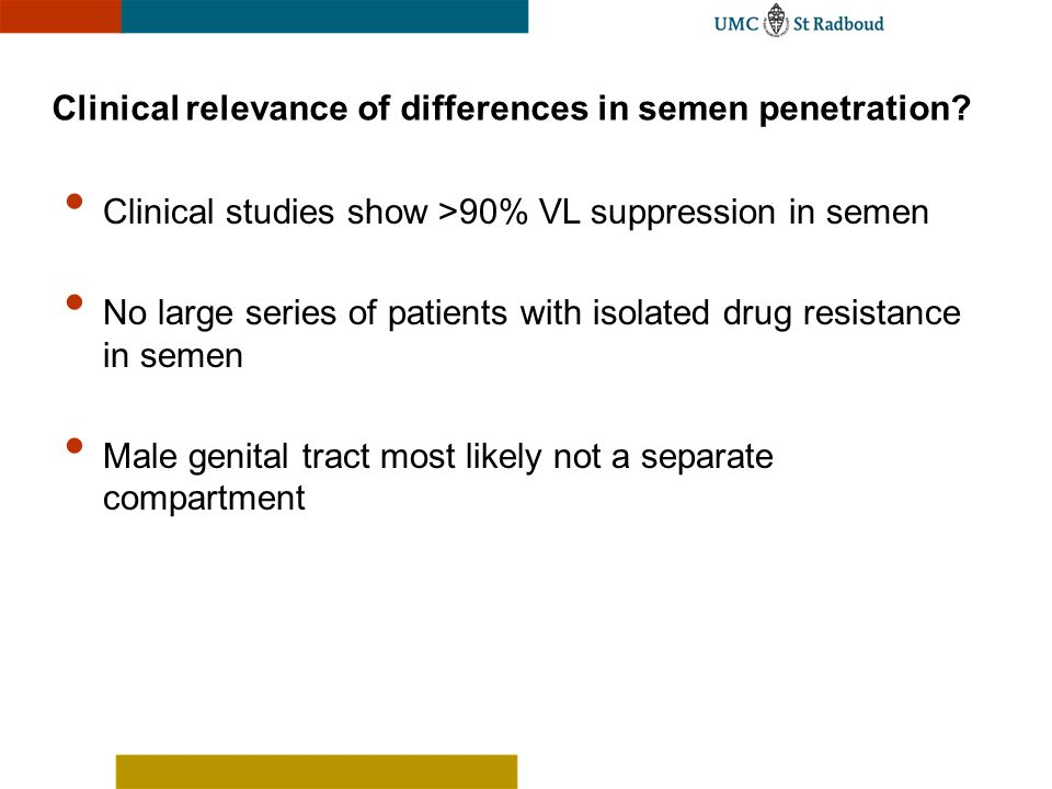Clinical relevance of differences in semen penetration? Clinical studies show >90% VL suppression in semen No large series of patients with isolated d