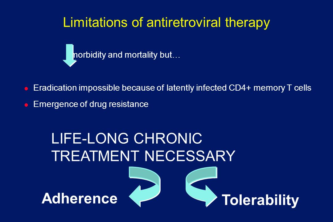 Limitations of antiretroviral therapy morbidity and mortality but… l Eradication impossible because of latently infected CD4+ memory T cells l Emergen