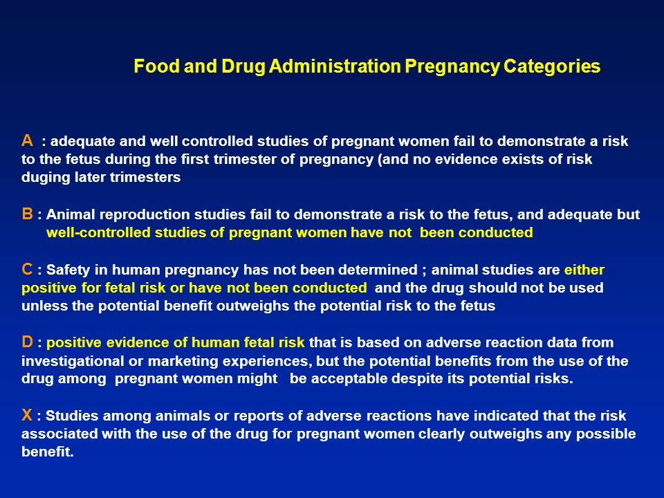 Food and Drug Administration Pregnancy Categories A : adequate and well controlled studies of pregnant women fail to demonstrate a risk to the fetus during the first trimester of pregnancy (and no evidence exists of risk duging later trimesters B : Animal reproduction studies fail to demonstrate a risk to the fetus, and adequate but well-controlled studies of pregnant women have not been conducted C : Safety in human pregnancy has not been determined ; animal studies are either positive for fetal risk or have not been conducted, and the drug should not be used unless the potential benefit outweighs the potential risk to the fetus D : positive evidence of human fetal risk that is based on adverse reaction data from investigational or marketing experiences, but the potential benefits from the use of the drug among pregnant women might be acceptable despite its potential risks.