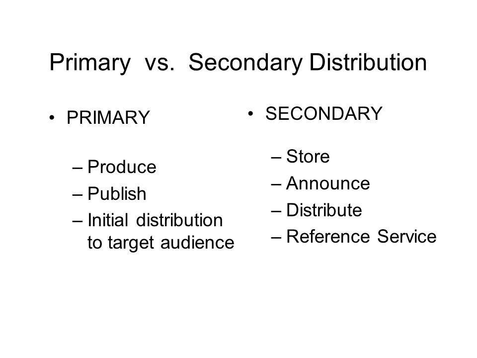 Primary vs. Secondary Distribution PRIMARY –Produce –Publish –Initial distribution to target audience SECONDARY –Store –Announce –Distribute –Referenc