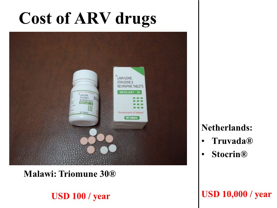 Cost of ARV drugs Netherlands: Truvada® Stocrin® USD 10,000 / year Malawi: Triomune 30® USD 100 / year