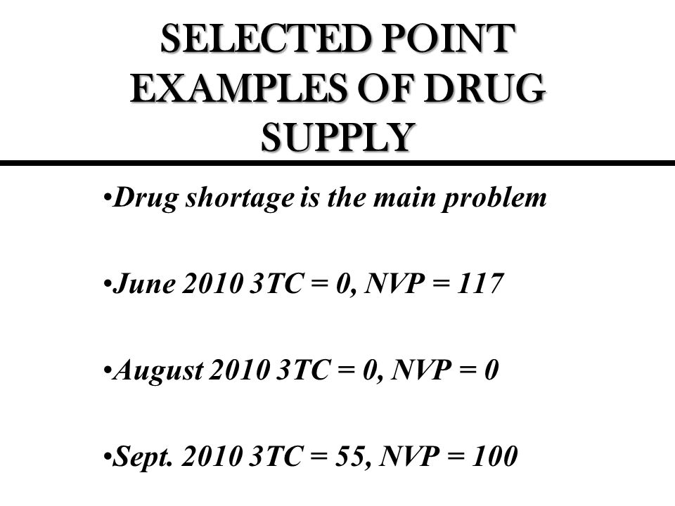 SELECTED POINT EXAMPLES OF DRUG SUPPLY Drug shortage is the main problem June TC = 0, NVP = 117 August TC = 0, NVP = 0 Sept.