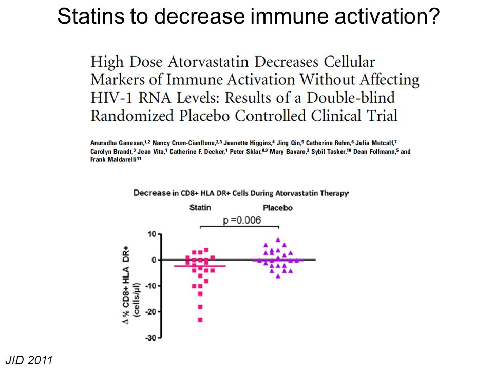 JID 2011 Statins to decrease immune activation?