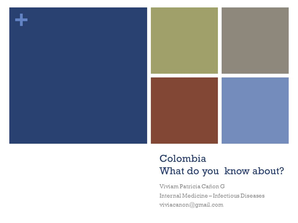 + Colombia What do you know about? Viviam Patricia Cañon G Internal Medicine – Infectious Diseases viviacanon@gmail.com