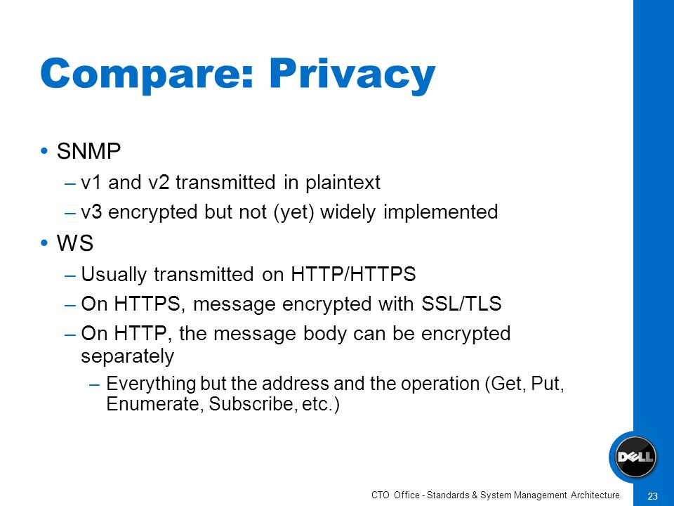 CTO Office - Standards & System Management Architecture 23 Compare: Privacy SNMP –v1 and v2 transmitted in plaintext –v3 encrypted but not (yet) widel