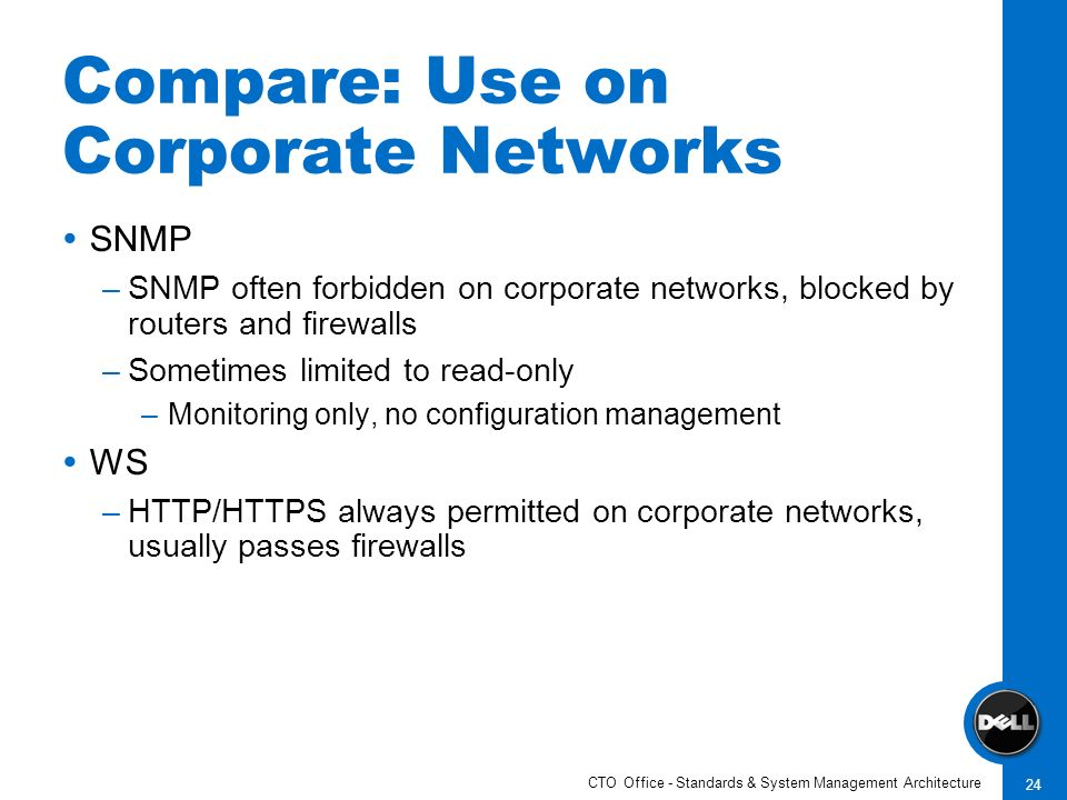 CTO Office - Standards & System Management Architecture 24 Compare: Use on Corporate Networks SNMP –SNMP often forbidden on corporate networks, blocke