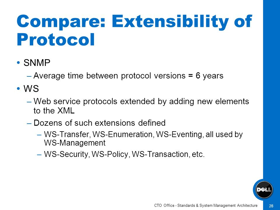 CTO Office - Standards & System Management Architecture 28 Compare: Extensibility of Protocol SNMP –Average time between protocol versions = 6 years WS –Web service protocols extended by adding new elements to the XML –Dozens of such extensions defined –WS-Transfer, WS-Enumeration, WS-Eventing, all used by WS-Management –WS-Security, WS-Policy, WS-Transaction, etc.