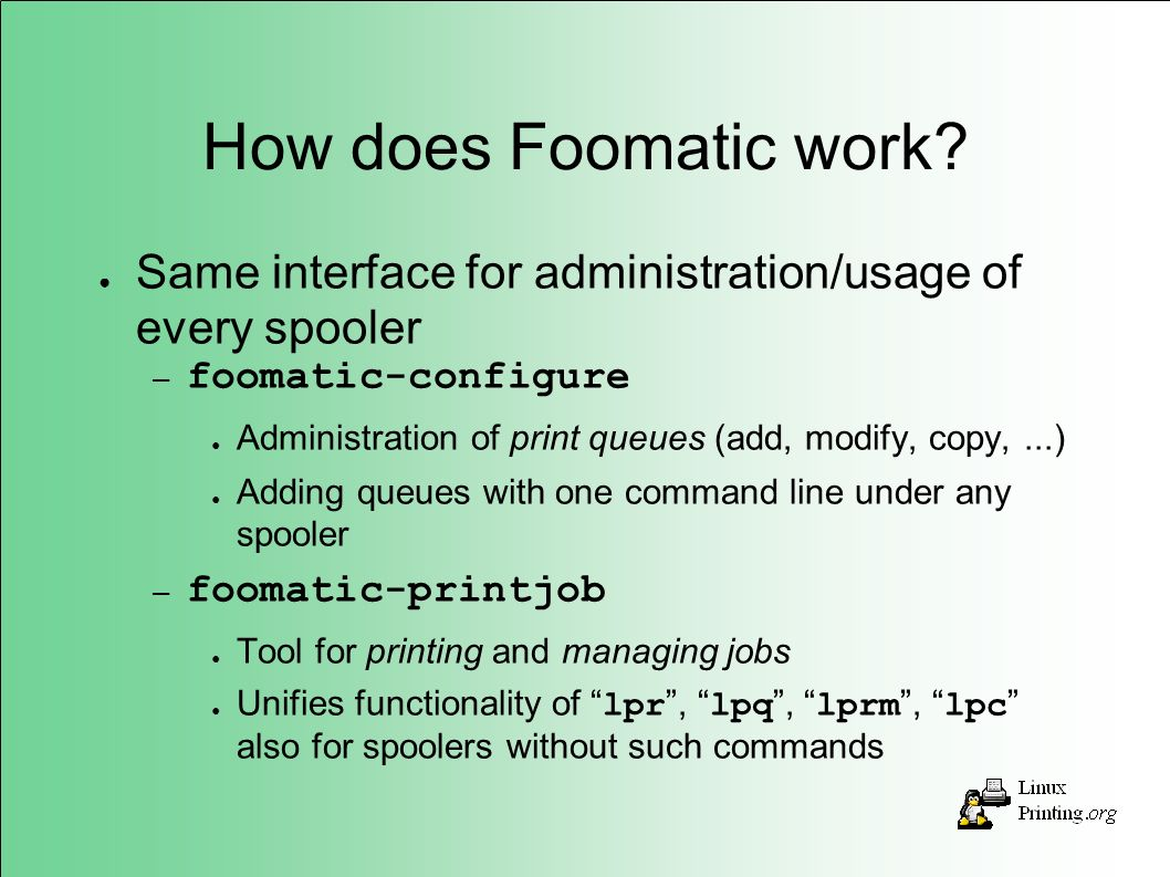 How does Foomatic work.