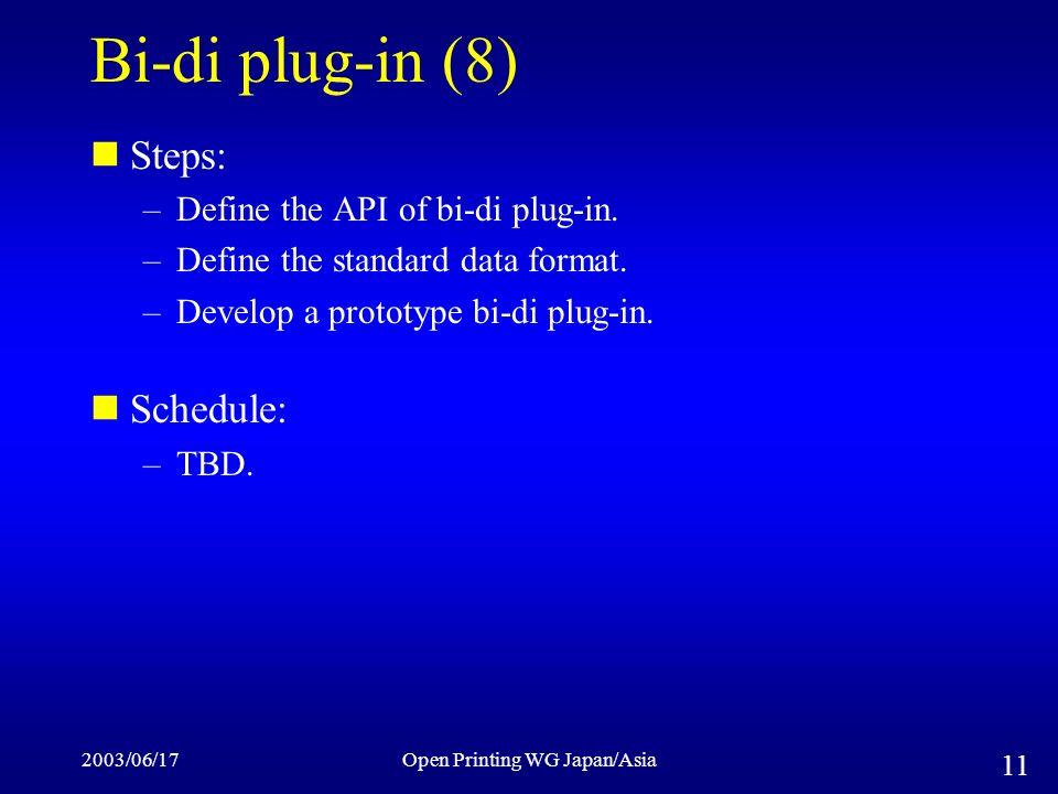 2003/06/17Open Printing WG Japan/Asia 11 Bi-di plug-in (8) Steps: –Define the API of bi-di plug-in.