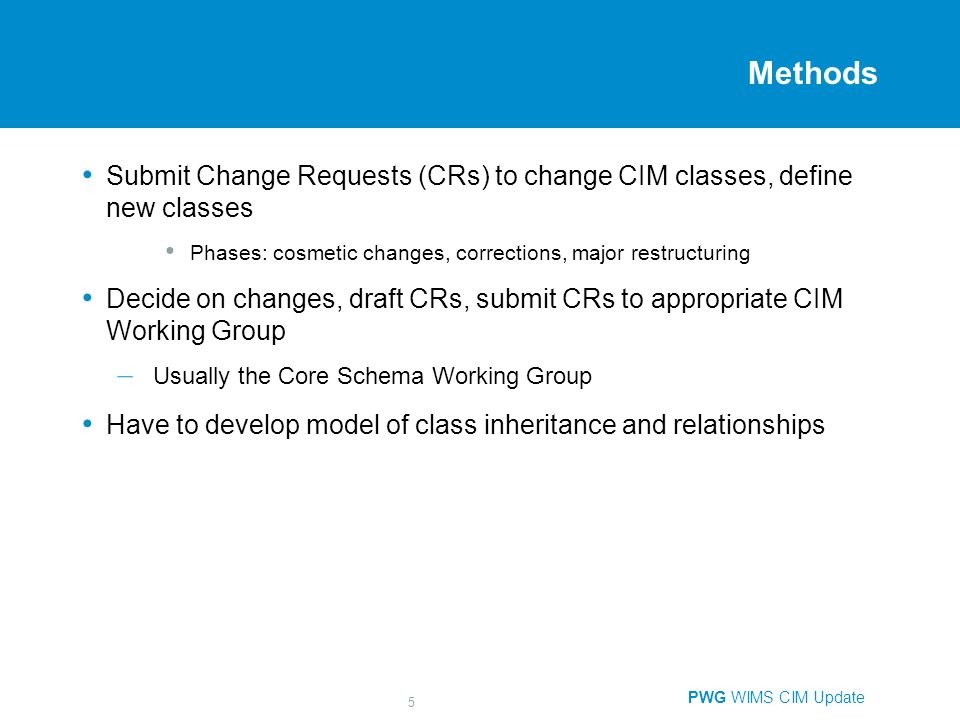 PWG WIMS CIM Update 5 Methods Submit Change Requests (CRs) to change CIM classes, define new classes Phases: cosmetic changes, corrections, major restructuring Decide on changes, draft CRs, submit CRs to appropriate CIM Working Group – Usually the Core Schema Working Group Have to develop model of class inheritance and relationships