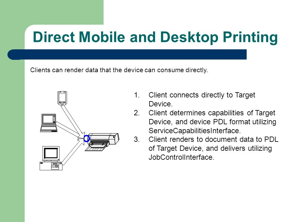 Direct Mobile and Desktop Printing Clients can render data that the device can consume directly.